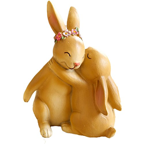 MineDecor Resin Bunny Decorations Spring Easter Decors Figurines Tabletopper Accessories for Party Home Holiday, Hugged Bunnies