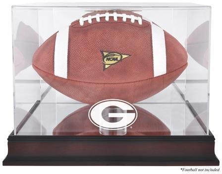Georgia Bulldogs Mahogany Logo Football Display Case (Engraved Football Display Case)