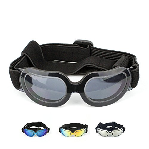 Petvins Doggie Goggles Dog Sunglasses Fashion Pet Eyewear UV Protection Waterproof for Cat Doggy Puppy Small Black by Petvins