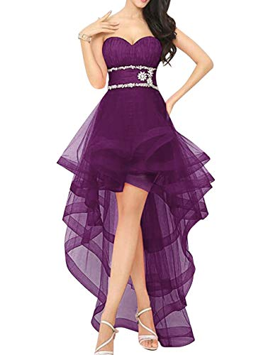 Homecoming High Party Grape Gown Low Lace Prom Women's Beaded Bridal Dress up Bess wvX70Ixzqx