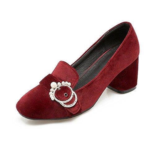 MEI&S Femmes Square Toe Talons Chaussures Bouche Peu Profonde Bloc Red xgy0pZbGlA