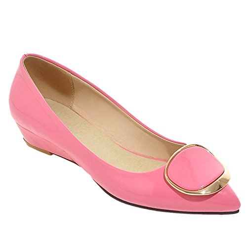 Charm Foot Womens Pointed Toe Sweet Wedge Low Heel Pumps Shoes Peach MRQsX