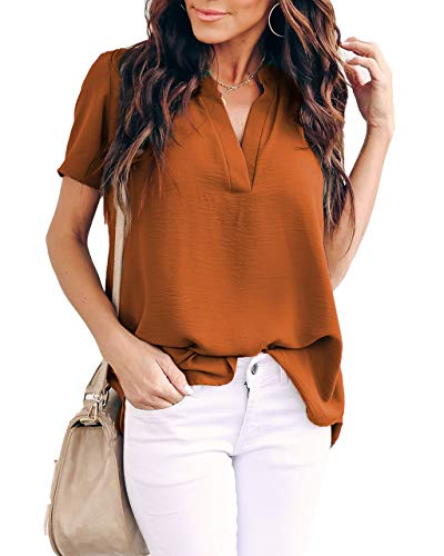 Allimy Women Summer Short Sleeve Shirts Casual V Neck Chiffon Tops and Blouses Plus Size 2X Orange