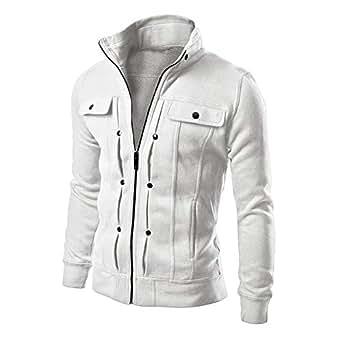 XFentech Men Winter Coat Zipper Jacket - Solid Color