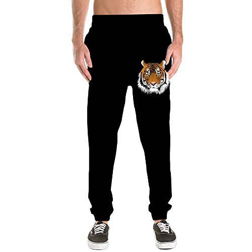 Tiger Costume Face Paint (White Tiger Face Jogger Sweatpants Men's Dri-Power Closed-Bottom Pants With Pockets Workout Training Pants Yoga Running 3X)