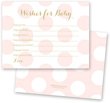 48 Polka Dots Gold Baby Shower Wish Card Pink