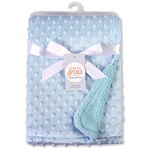 BeimYcW Dual Layer Embossed Bubble Warm Soft Infant Baby Breathable Blanket Wrap Cover Cozy Lightweight Supplies Home Blue