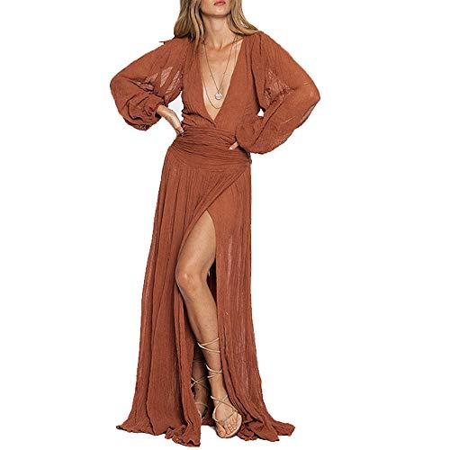myodress Women's Sexy Long Sleeve Deep V Neck High Split Solid Color Maxi Beach Dress Orange