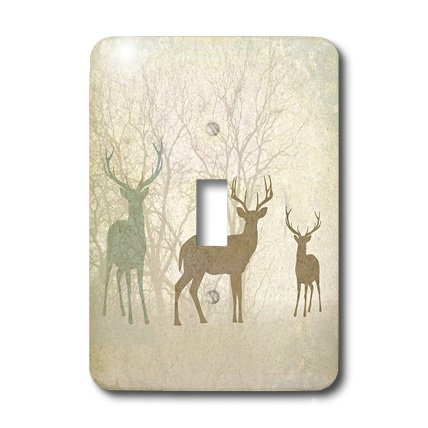 3dRose Deer Silhouettes Set Against Faded Forest Background