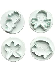 RoseSummer 4 Pcs Fondant Cake Cookie Cutter Decorating Seahorse Octopus Starfish Tropical Fish Mold Sugarcraft Mould Bakeware Set