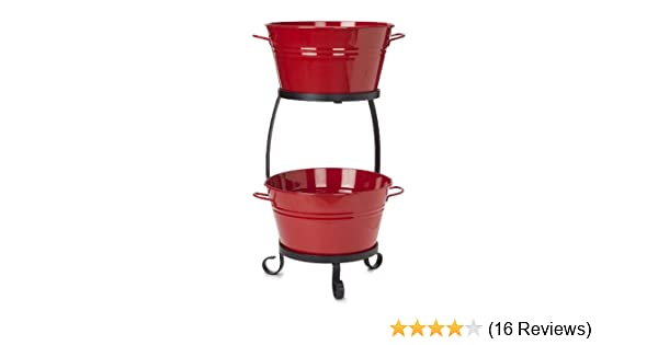 RED 8020E XR Enamels Galvanized Double Beverage tub with Iron Stand HIT Corp