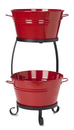 HIT Corp. 8020E XR Enamels Galvanized Double Beverage tub with Iron Stand, RED