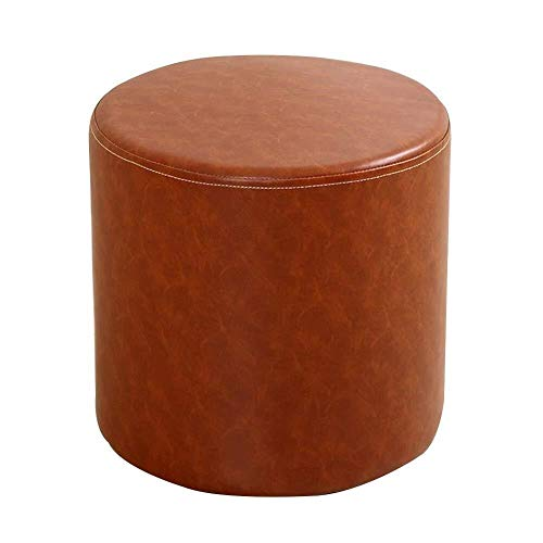 Tingting-Step stools, Round Footstool Waterproof PU Household Solid Wood Frame Change Shoe Bench Bathroom, Living Room, Foyer (Color : Orange, Size : 2930cm)