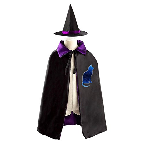 Starry Sky Cat Reversible Robe Cloak and Hat in Halloween Fancy Ball