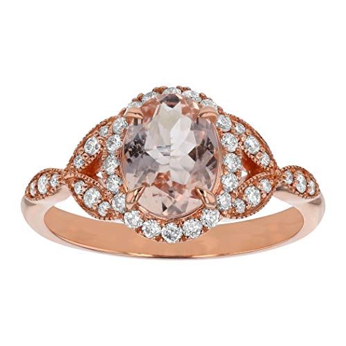 - 14K Rose Gold Oval Shape Morganite and Diamond Engagement Ring (1/4 cttw, H-I, I1) (6)