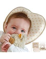 Babykissen gegen Plattkopf mit 2 BIO-Baumwolle Bezüge | Ergonomisches Baby Kissen/Kopfkissen zur Vorbeugung von Verformung | in BIO Baumwoll-Tasche