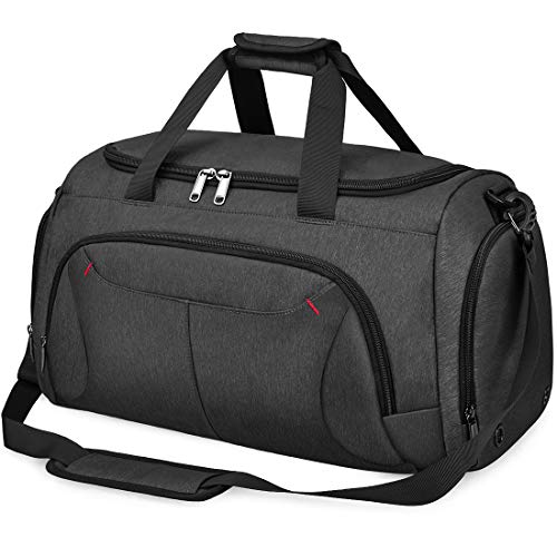 Gym Duffle Bag Waterproof Large Sports Bags Travel Duffel Bags with Shoes Compartment Weekender Overnight Bag Men Women 40L Black (Best Waterproof Shoes For Travel)