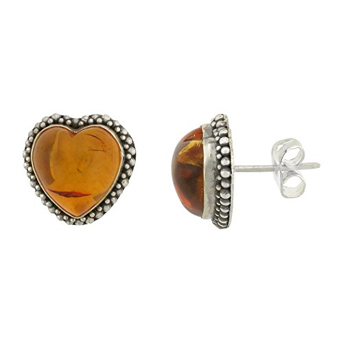 Sterling Silver Heart Earrings, Cabochon Cut Russian Baltic Amber Stone, 1/2 inch tall (Sterling Silver Amber Cabochon Earrings)
