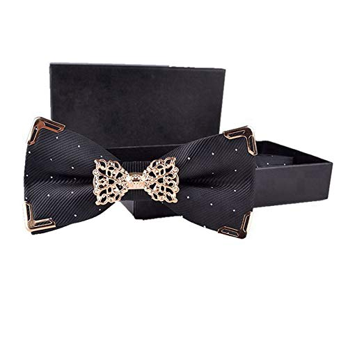 Hello Tie Solid Silver Dot Gold Edge Luxurious Pre-Tied Bow Ties Black