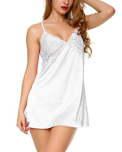 Suzicca Women Lingerie V Neck Nightwear Satin Sleepwear Lace Chemise Mini Teddy