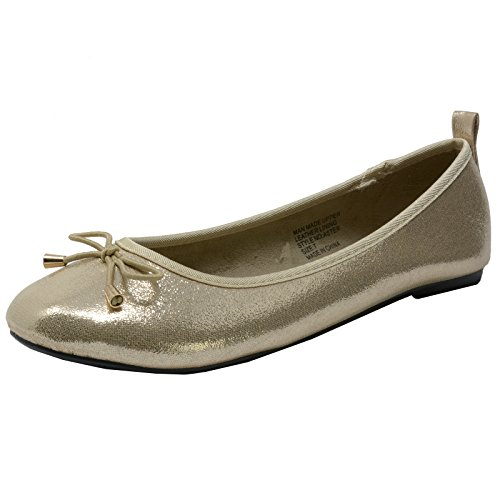 Sparkly Ballerina (alpine swiss Women's Gold Sparkly Aster Slip On Ballet Flats 5 M US)