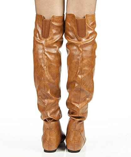 RF RAUM DER MODE Trend-Hi Over-the-Knee Oberschenkel hohe flache Slouchy Welle Low Heel Stiefel Tan Pu