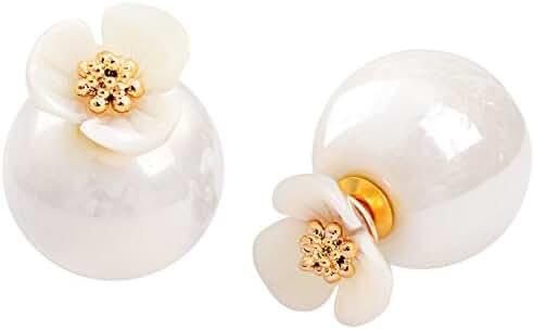 Stud Earrings Shell Flower Mother Of Pearl Double Side To Wear For Women By SUYAN