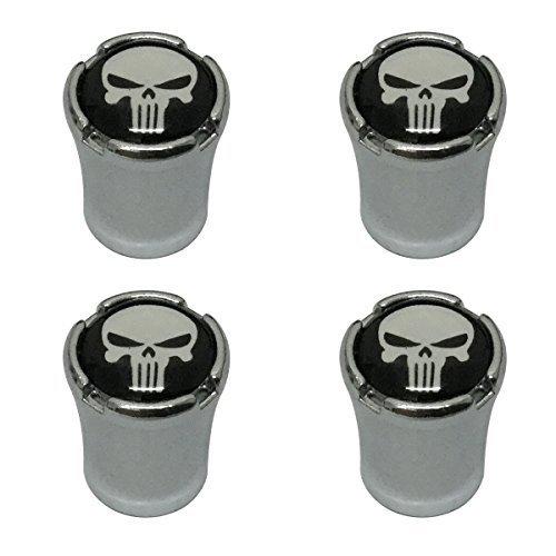 Modern Design 4pcs White Punisher Skull Skeleton Head Logo Chrome Auto Car Wheel Tire Air Valve Caps Tire ()