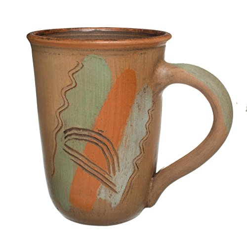 Handmade Ceramic Mug Clay Cup with Handle 12oz Multicolor Natural Earthenware Eco Friendly Tea Coffee Lead Free Pottery Handcrafted (Red Pottery Mugs)