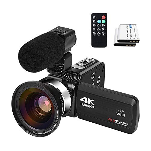 4k Video Camera with Microphone Recorder Webcam for Computer 48MP 30FPS 3.0 Inch Touchscreen 270 Degree Rotation 16X Digital Zoom with Two Batteries