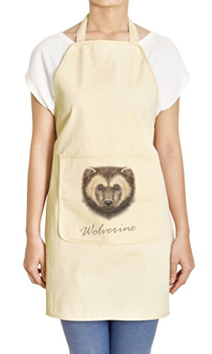 Portrait of Wolverine Printed Khaki Kitchen Apron 27 x 32.5 Inch with Pocket APR