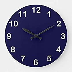 Solid Color Navy Blue Wall Clocks Large Decorative Silent Non-Ticking Wood Clock for Women 16 Inches