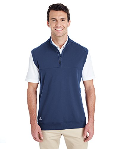 adidas Golf Mens Quarter-Zip Club Vest (A271) -Dark Slate -XL