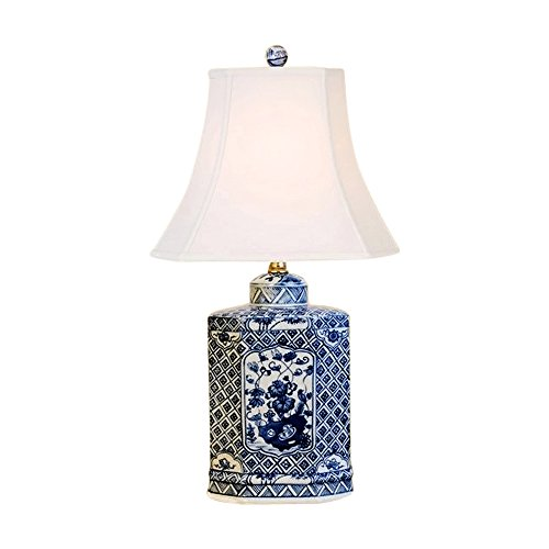Blue and White Floral Porcelain Hexagonal Tea Caddy Jar Table Lamp -