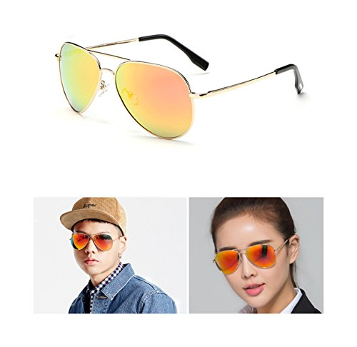 Aviator Sunglasses Gifts for Men Woman Fashion Sports Wife Girl Boy Gift Military Polarized Full Mirrored Flash Lens Uv 400 rays (Orange frame/Orange mirror lens, - Lens And Between Mirror Difference The Is What