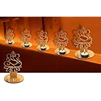 4 Pc Set Lord Ganesha Shape Diwali Shadow Diya. Deepawali Traditional Decorative Diya in Lord Ganesha Shape for Home…