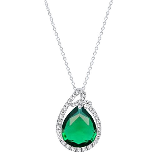 (Dazzlingrock Collection 18K 12X10 MM Pear Cut Lab Created Emerald & Round Diamond Ladies Pendant, White Gold)