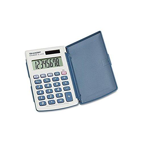"Price comparison product image EL243SB Sharp EL243SB Handheld Calculator - 8 Digit(s) - LCD - Battery / Solar Powered - 2.5"" x 4.5"" x 0.5"" - White,  Blue - 1 Each"