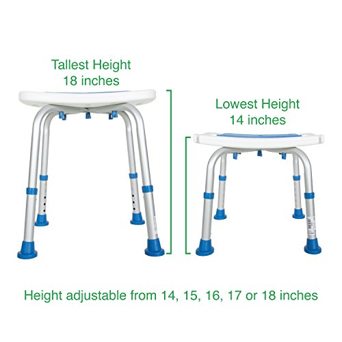Pcp Bath Bench Shower Chair Safety Seat, Adjustable Height, Stability Grip Traction, Medical Grade Senior Living Spa Aid, Mobility Recovery Support, White/Blue by PCP (Image #7)