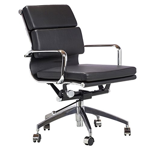 Eames Style Executive Leather Office Chair, Black