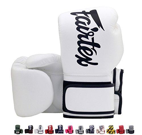 Fairtex BGV14 Microfibre Boxing Gloves Muay Thai Boxing, MMA, Kickboxing,Training Boxing Equipment, Gear for Martial Art (White, 16 oz) ()