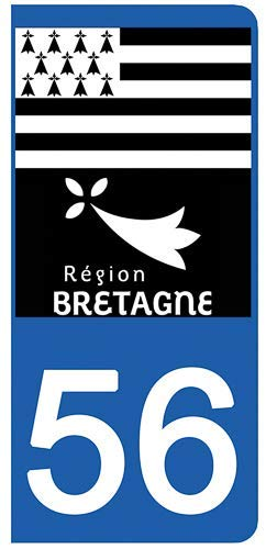 DECO-IDEES Lot de 2 Stickers pour Plaque d'immatriculation, 56 Morbihan - Bretagne