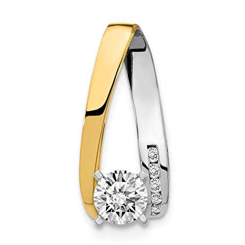 14K Two Tone Gold AA Diamond Semi Mount Slide