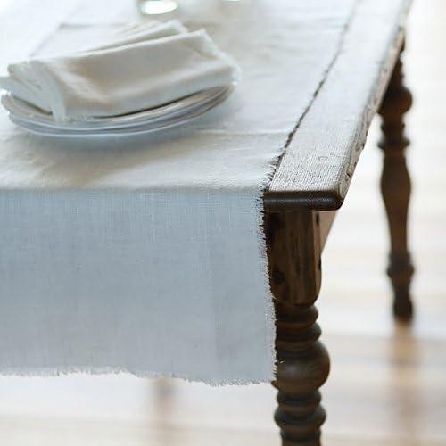 Collection Rustic Linenme Chemin de Table 45x140cm Blanc cass/é