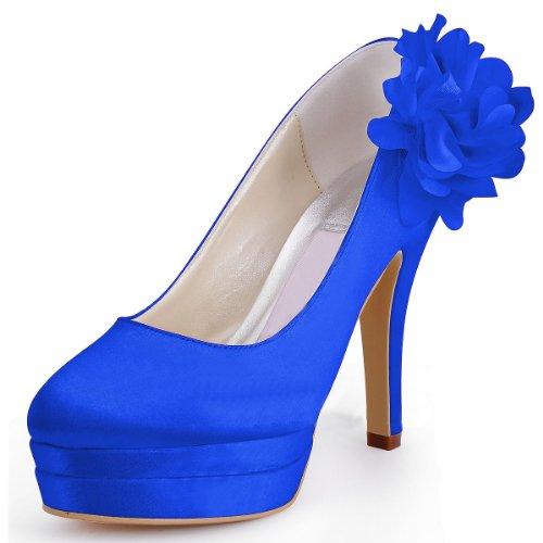 M Satin GYMZ728 Shoes Flower Toe MINITOO US 7 Bridesmaid Heel Platform Pumps High Wedding Stiletto Almond Bridal Evening Handmade Womens Party Blue RqdWvq
