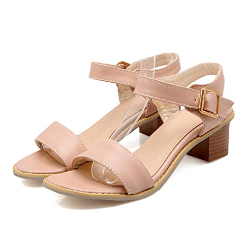 (Women's Medium Thick Block Heel Sandals Summer Ladies Open Toe Causal Party Office Buckle Strap Shoes Pink)