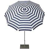 Maffei Art 92 runder Sonnenschirm D. cm 200, Stoff Dralon, Edelstahlgestell mm 27/30 mit Knicker. Made in Italy. Dessin Streifen Blau/Weiss