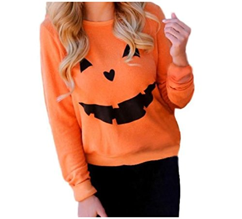 XiaoShop Women Popular Pumpkin Printed O-Neck Sweatshirts for Halloween AS1 Medium