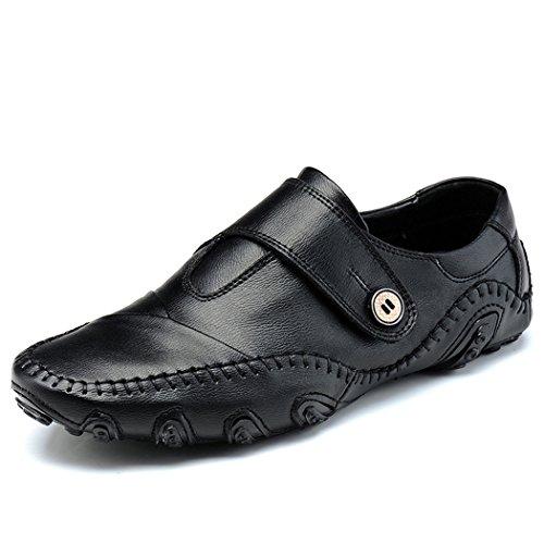 Zon Lorence Heren Business Casual Lederen Instappers Slip Op Zwarte Schoenen Zwart