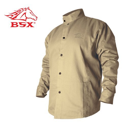 Black Stallion BSX BXTN9C Khaki Fire Resistant Cotton Welding Jacket, by Black Stallion